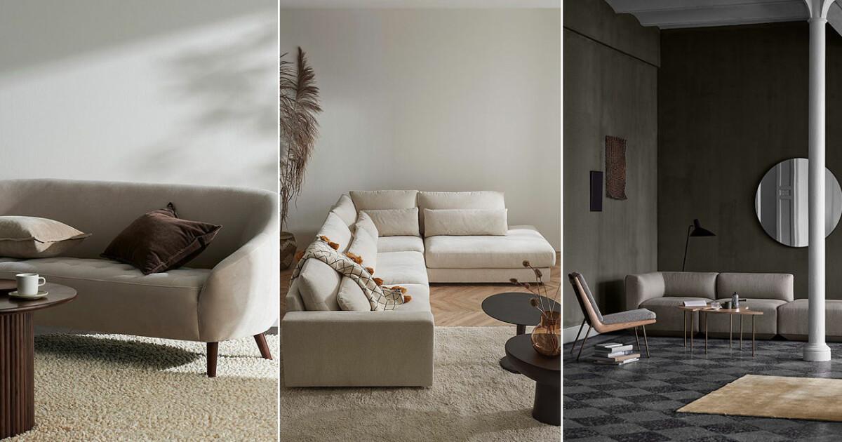 Snygga beige soffor – 16 trendiga shoppingtips i olika modeller och storlekar