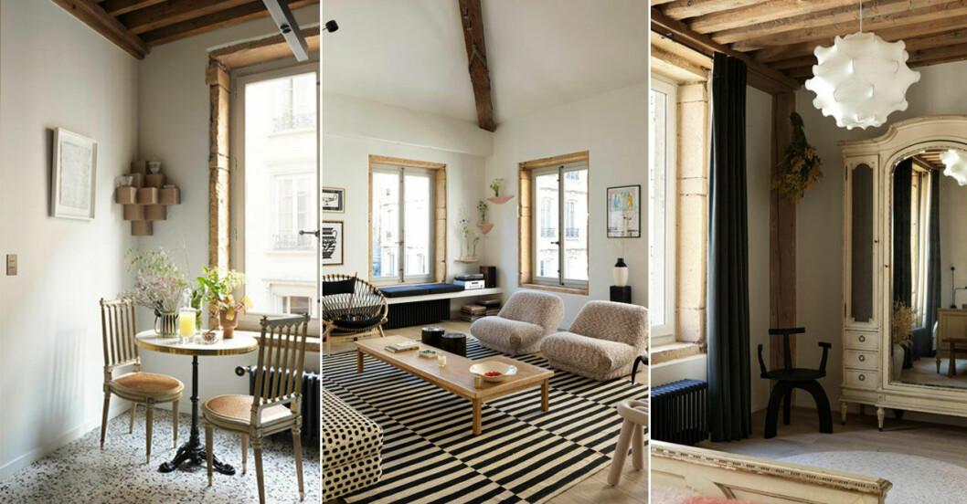 Jordnära och personligt hemma hos inredningsarkitekten i Lyon