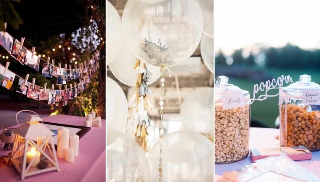 Flera tips på hur du kan dekorera bröllopet.