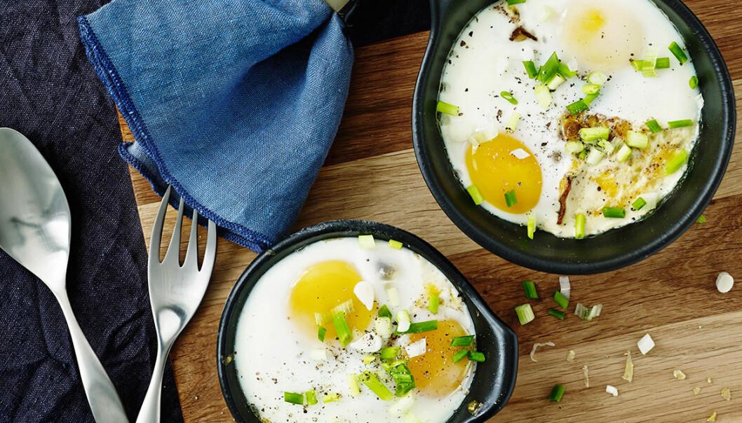 Recept på krämig äggcocotte med svamp och cheddar