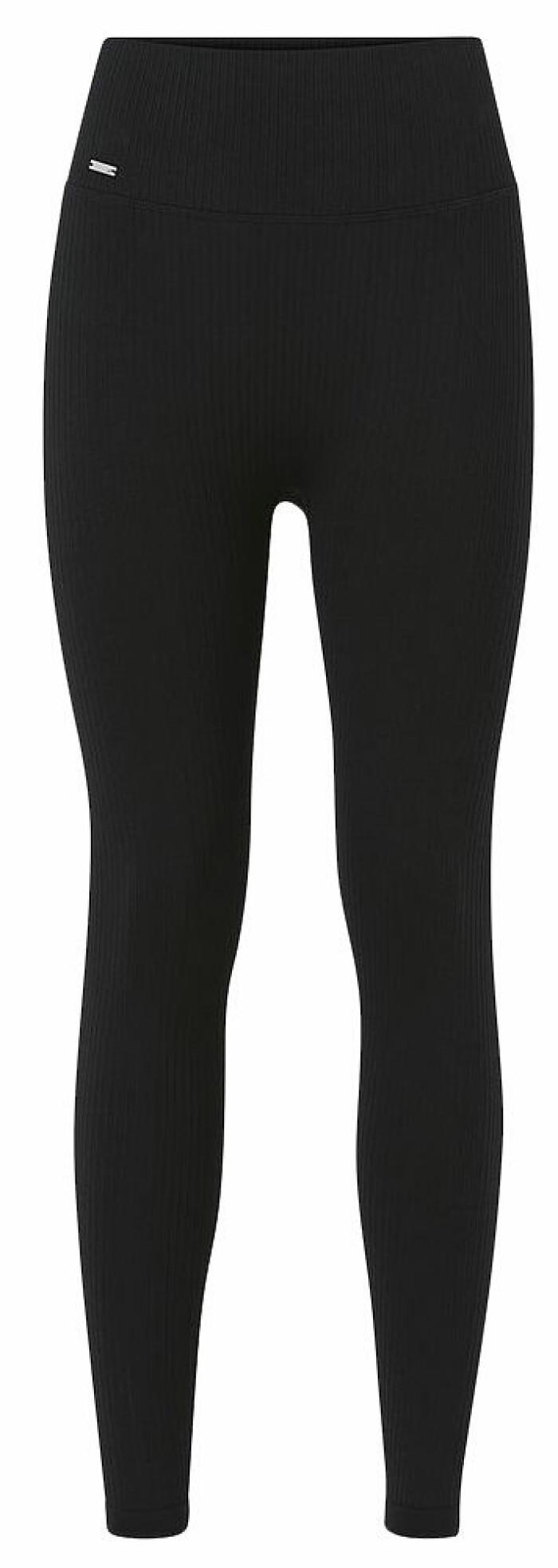 ribbade leggings från aimn i svart