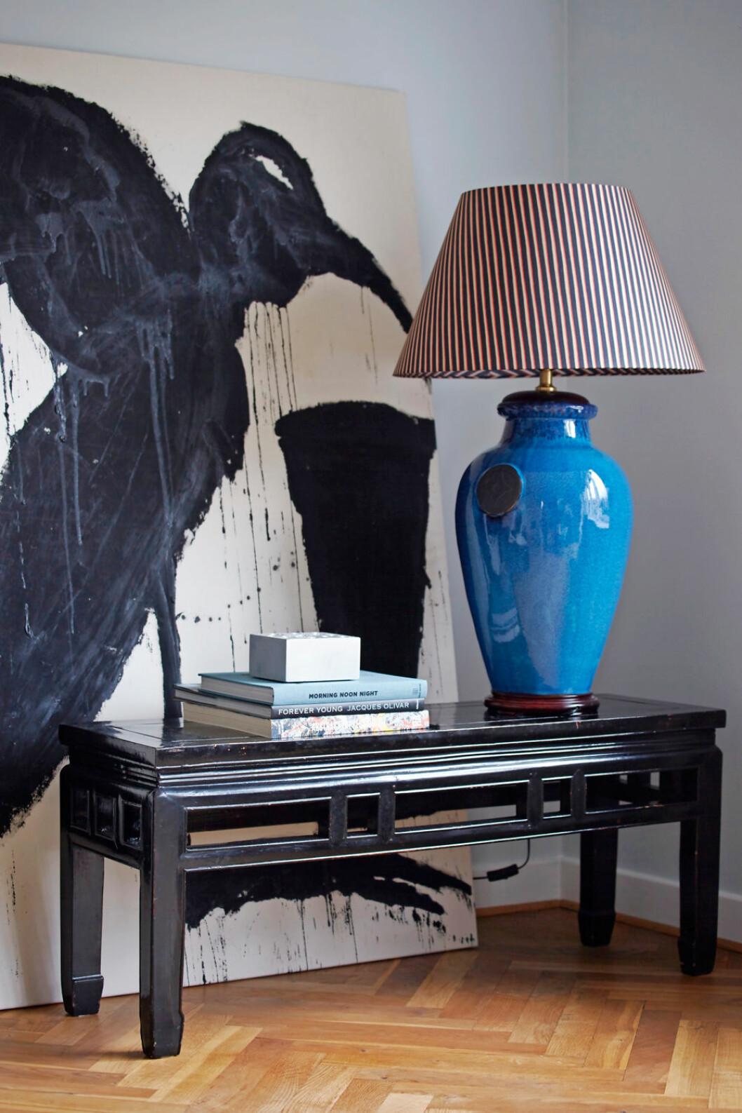 Hemma hos Alice Folker tavla lampa
