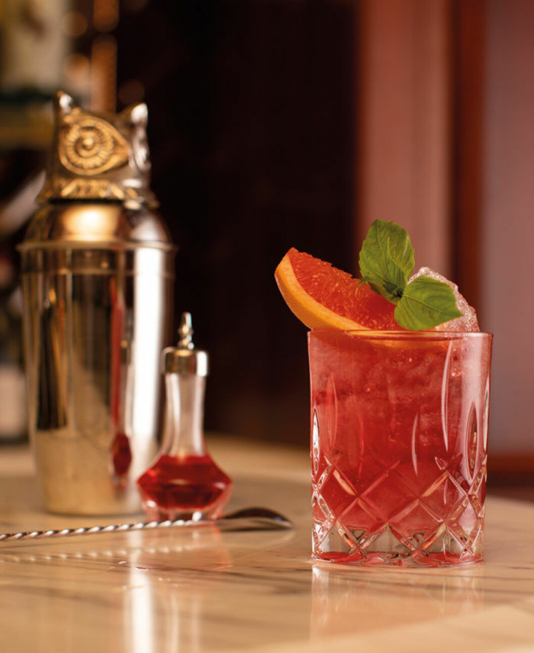 Den alkoholfria drinken Negroni 94 från Bank Hotel.