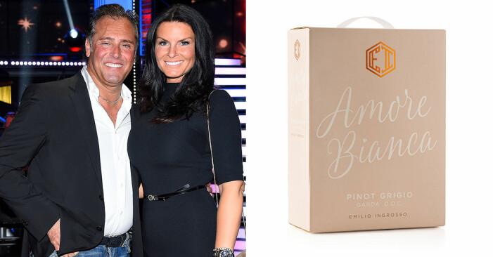 Emilio och Åsa Ingrosso, samt en box vin