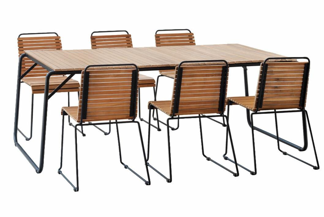 Trädgårdgrupp i teak med sex stolar