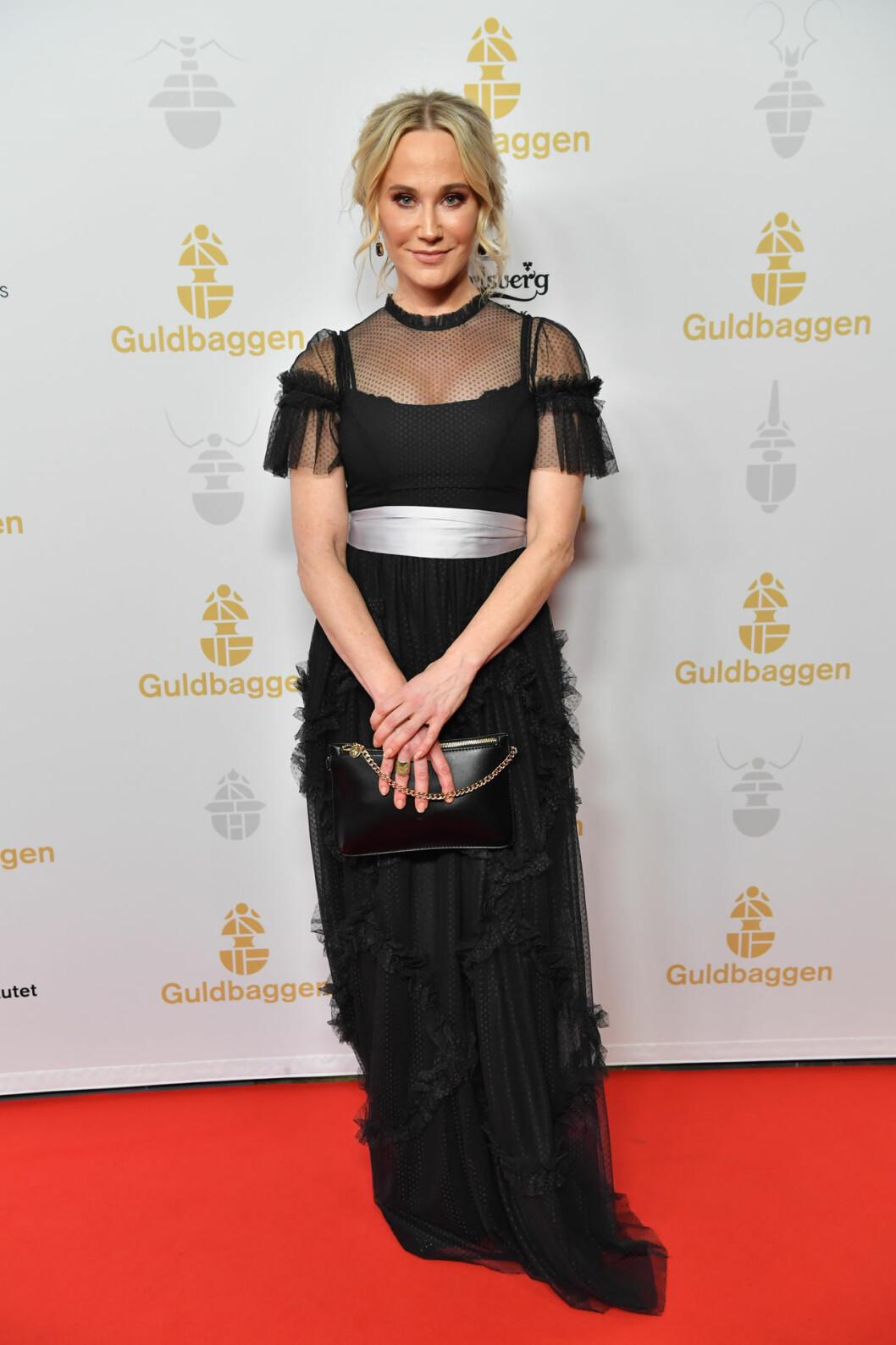 Anja Lundqvist på röda mattan på Guldbaggegalan 2020