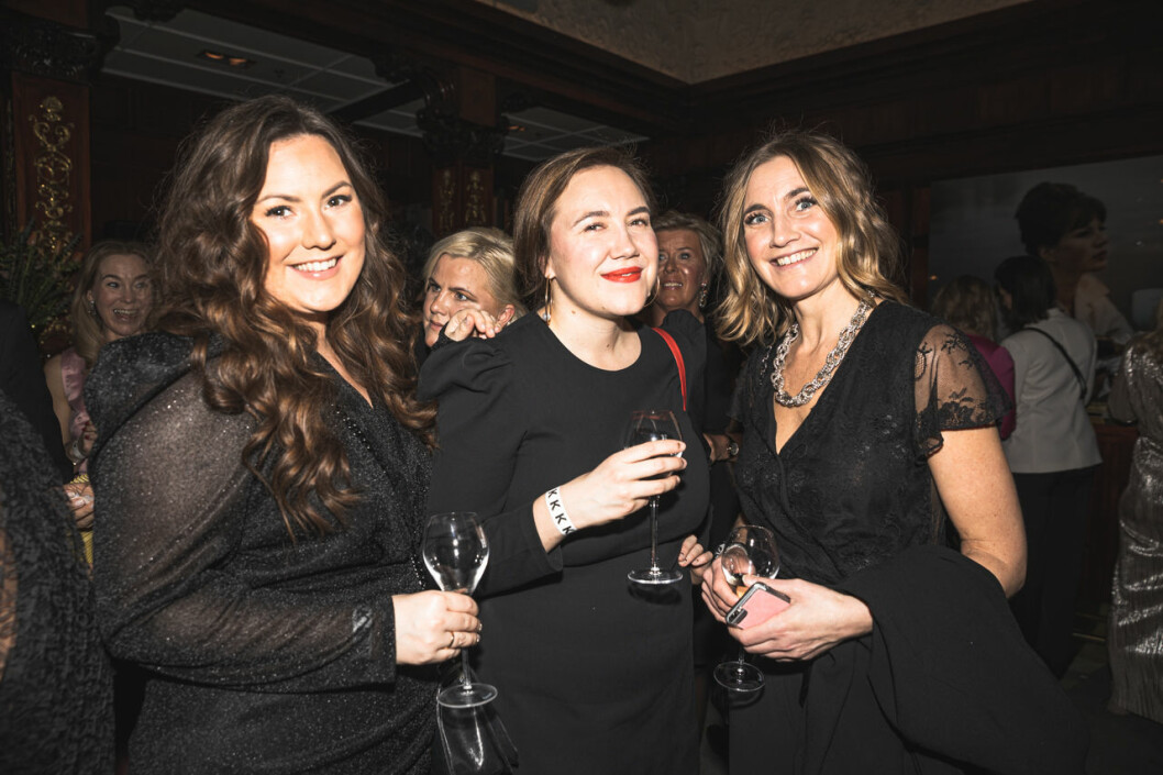 Jennie Viklund, Sabina Rosenblad och Johanna Johnson på annonsmingel före ELLE-galan 2020