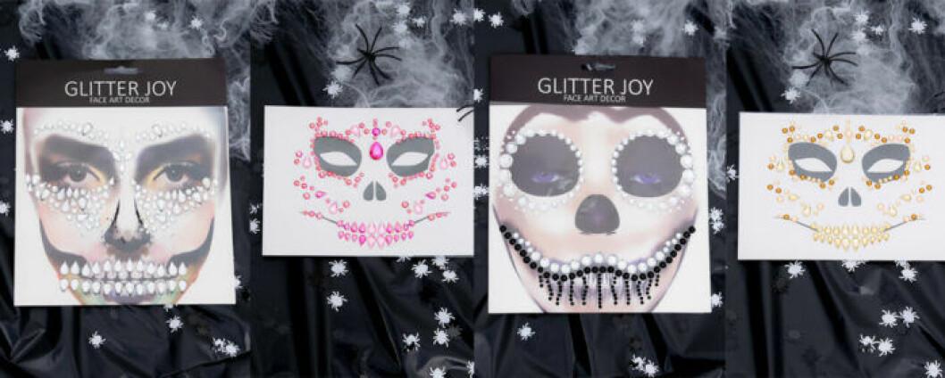 Ansiktsstenar i form av Halloweenkit med dödskallr