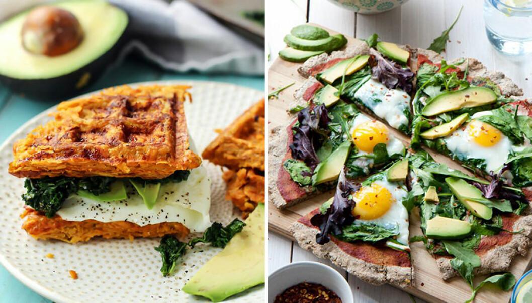 Lyxiga frukostar med avokado och ägg.