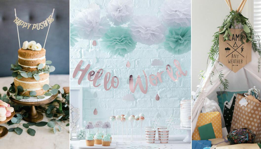 olika dekorationer till en babyshower