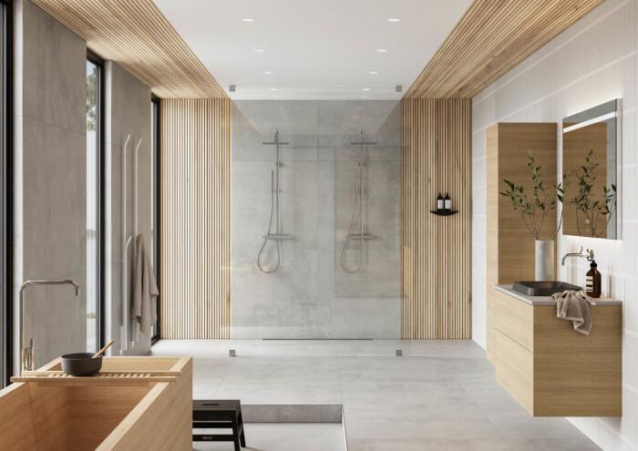badrum i skandinavisk minimalistisk stil och trä