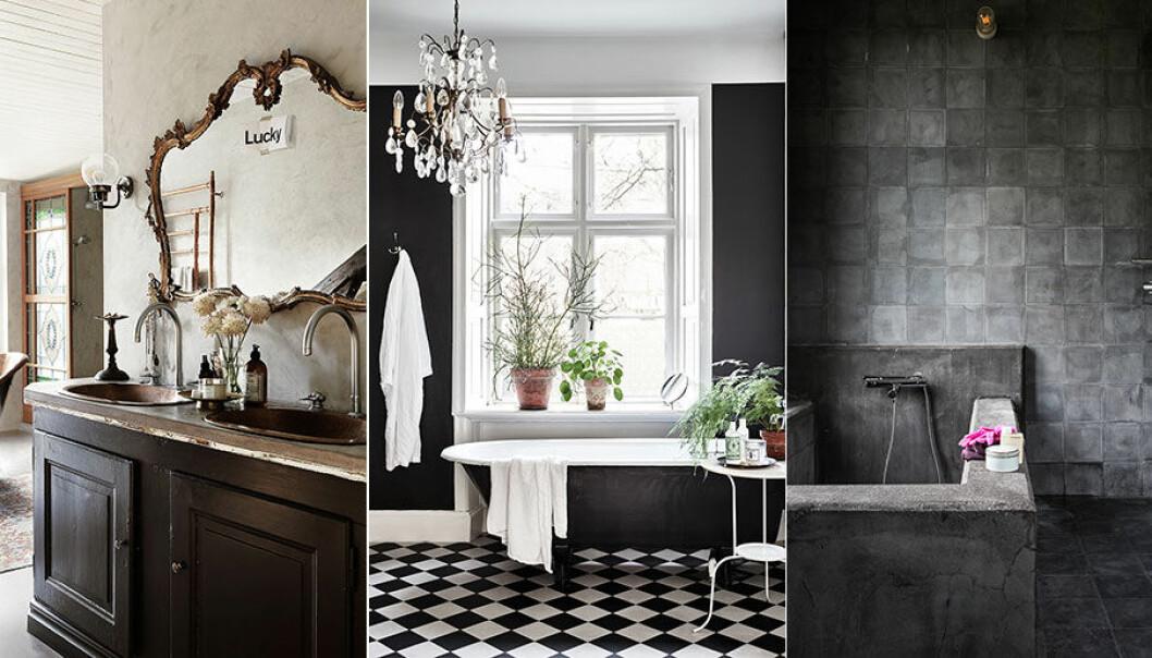 Olika stilar på badrum.