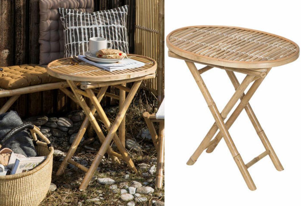 Hopfällbart balkongbord i bambu