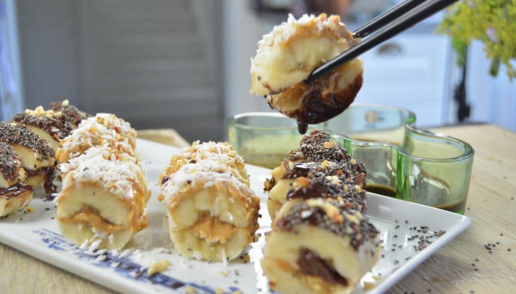 Banansushi med jordnötssmör och nutella.
