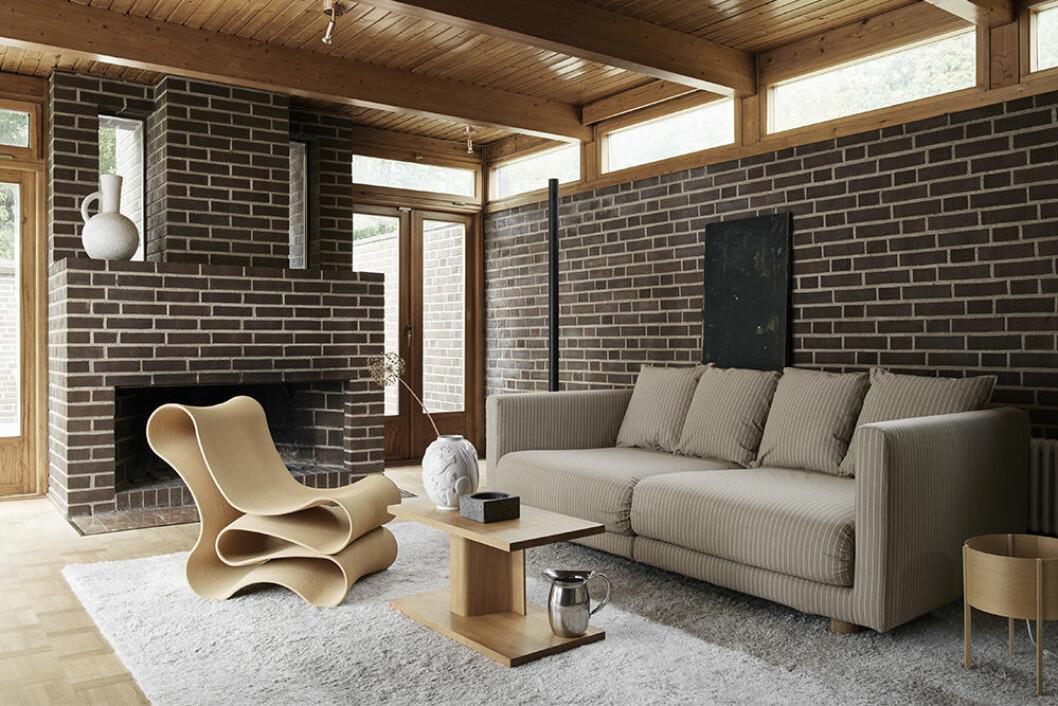 Kritstrecksrandigt överdrag till Ikea-soffa från Bemz