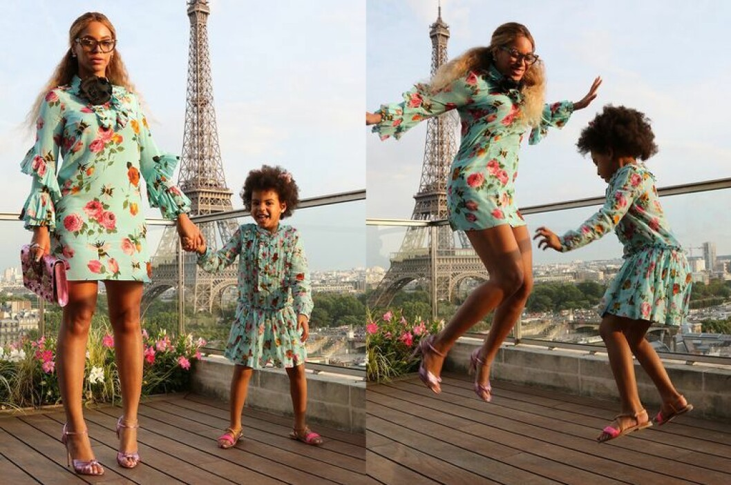 Beyonce och Blue Ivy framför Eiffeltornet