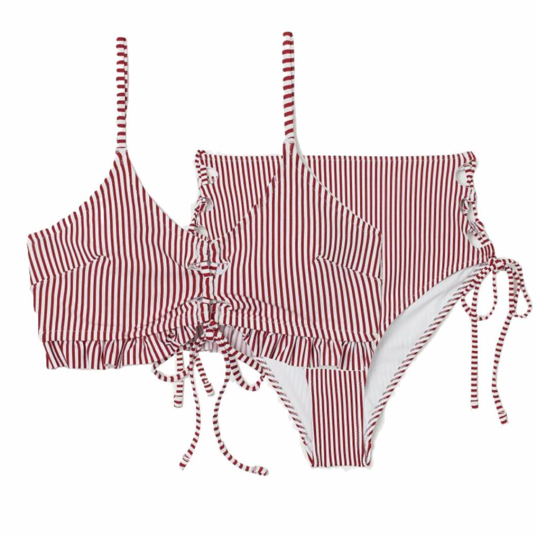 Röd bikini från H&M med volanger