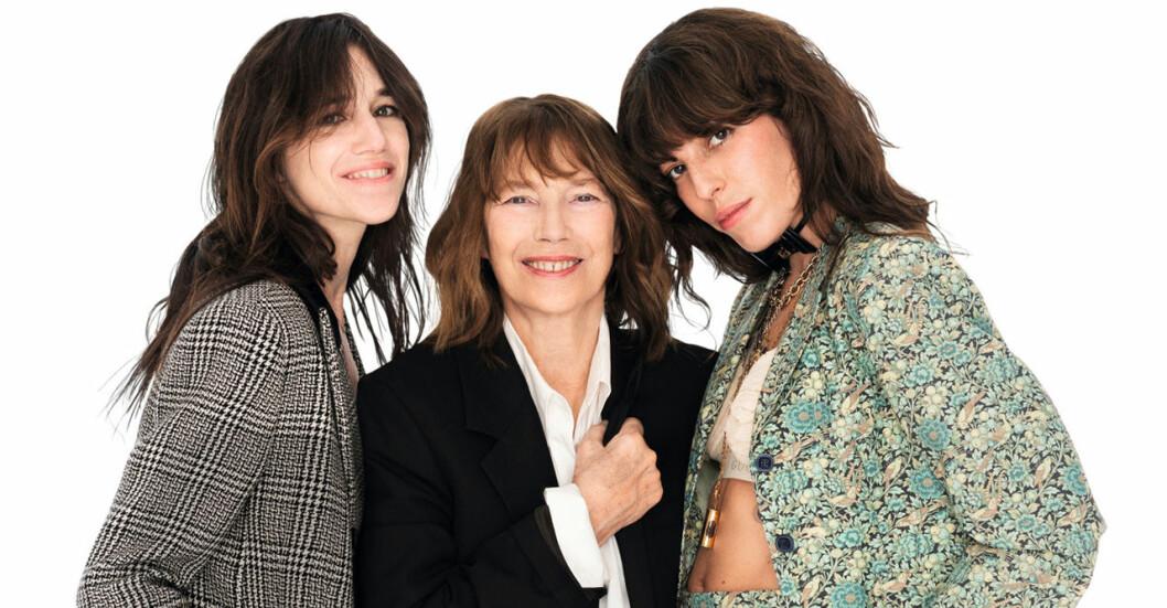 Jane Birkin med döttrarna Charlotte Gainsbourg och Lou Doillon.