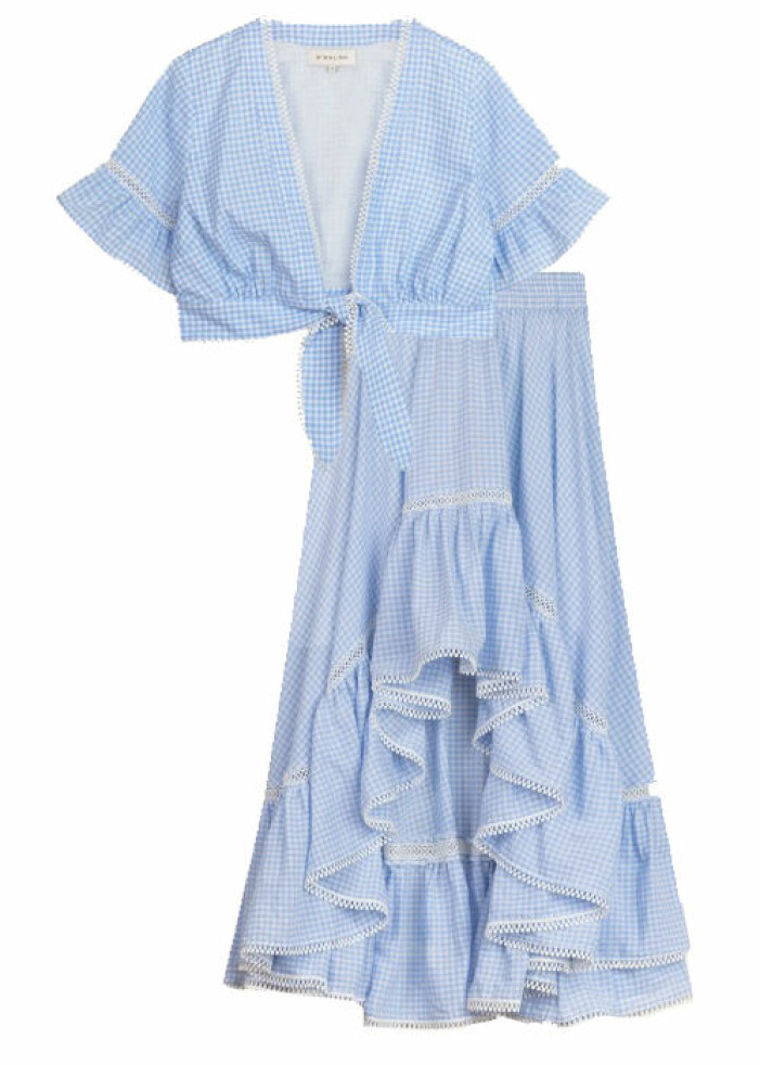 blått sett med kjol dam