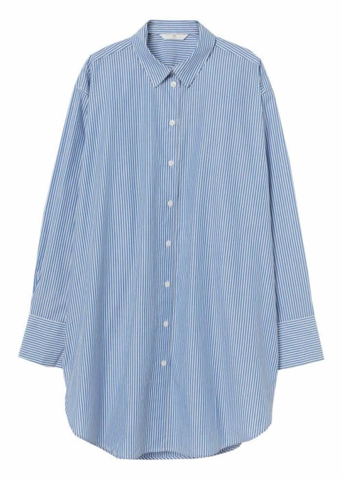 blå overzise skjorta dam