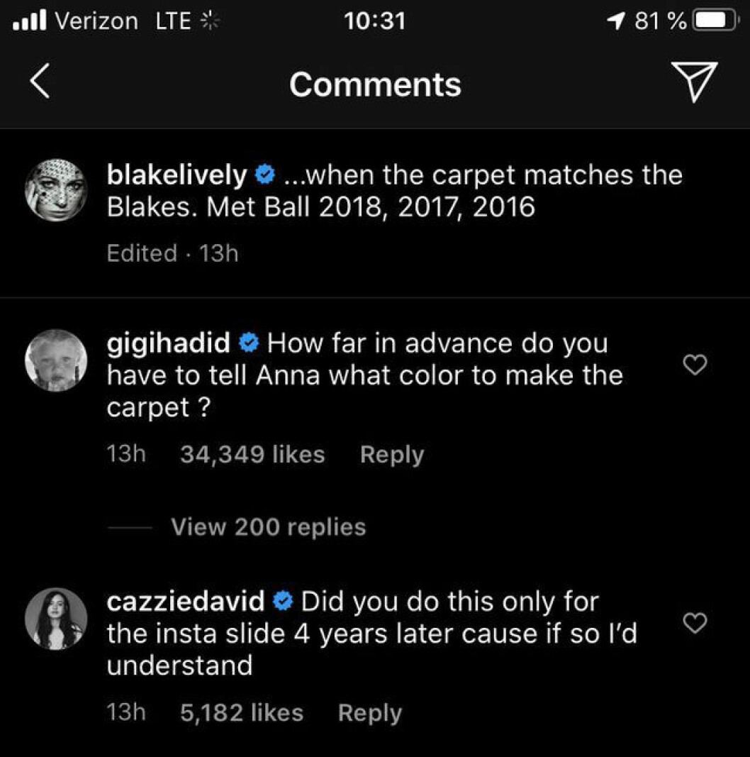 Gigi Hadid kommenterar på Blake Livelys instapost
