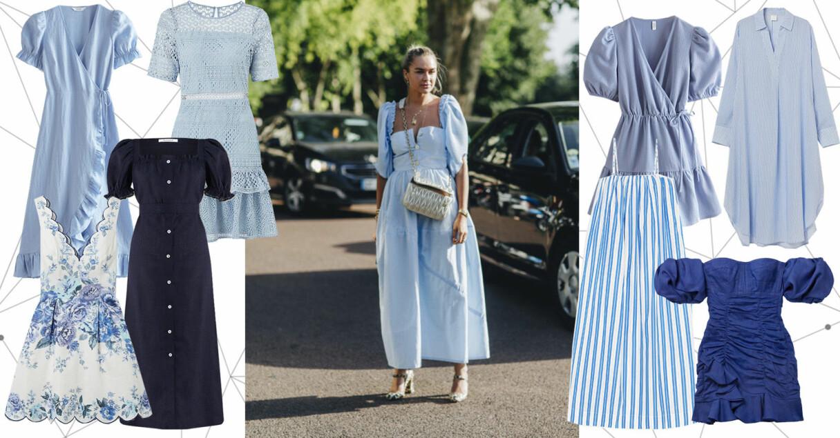 blå klänningar sommaren 2021