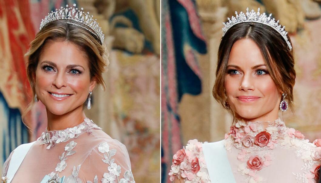 Madeleine och Sofia i blommiga klänningar