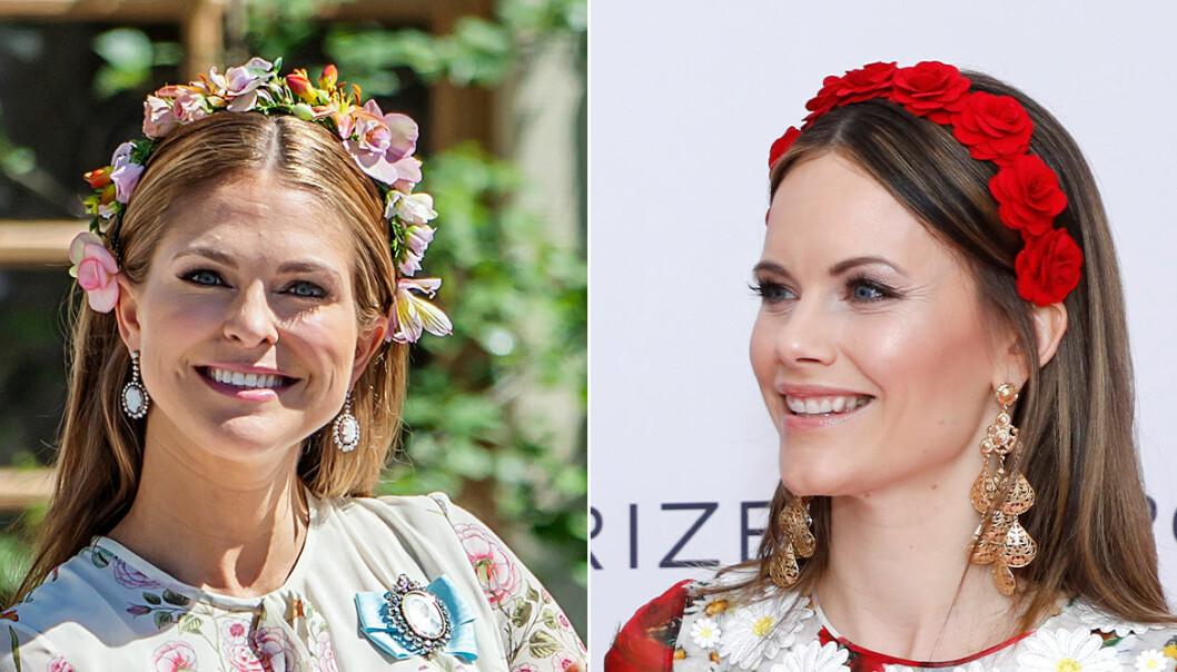 Madeleine och Sofia blommor i håret