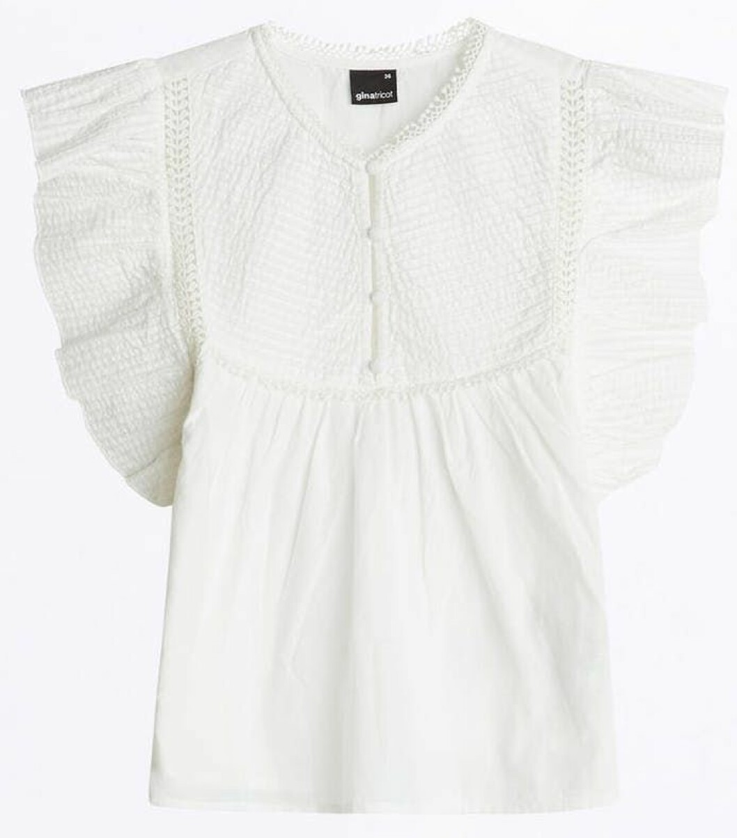 vit blus från Gina tricot.