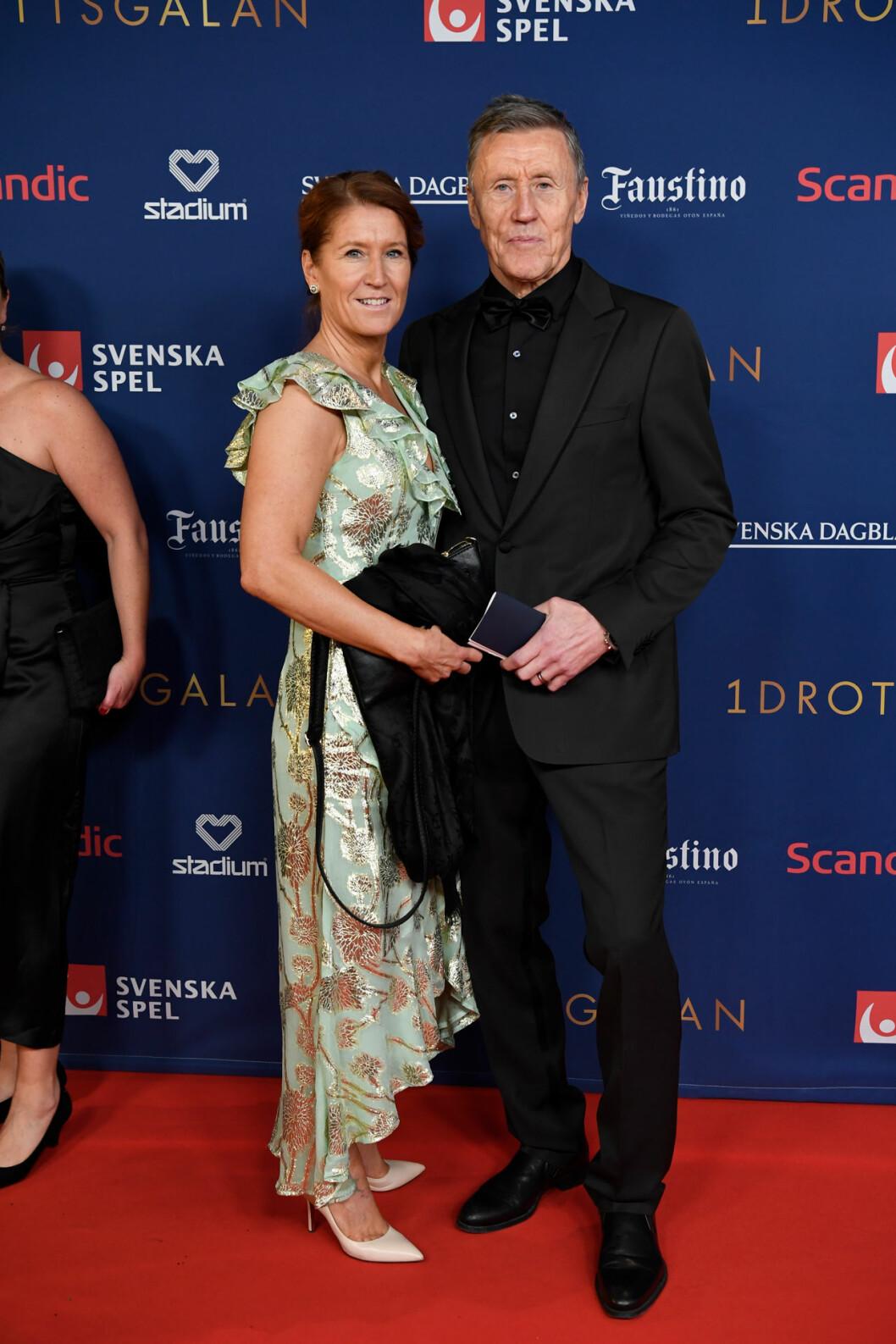 Börje och Pia Salming på röda mattan på Idrottsgalan 2020