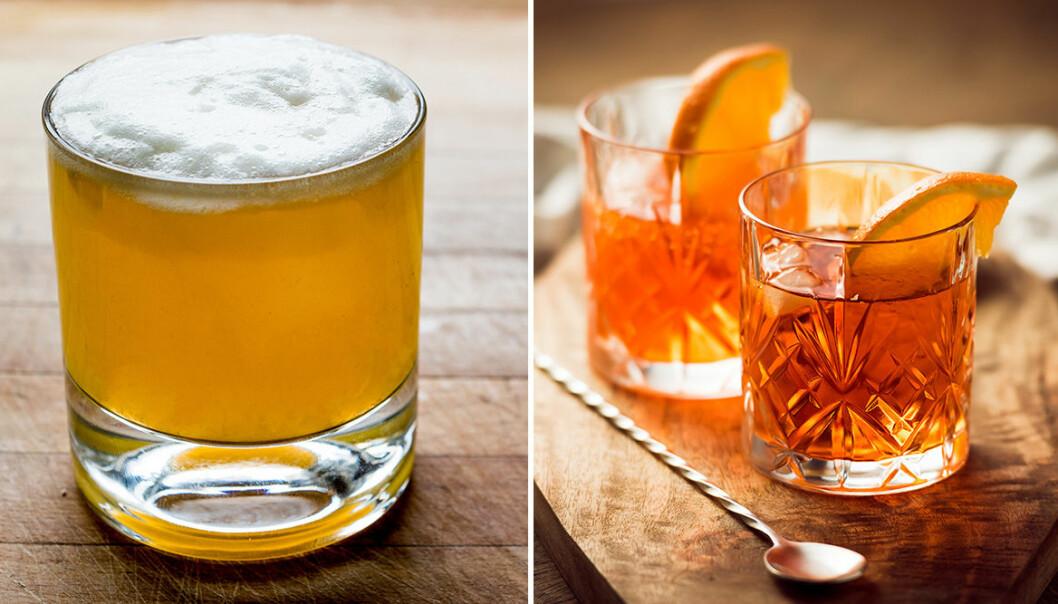 Whiskey Sour och Old Fashioned är två klassiska bourbon-drinkar.