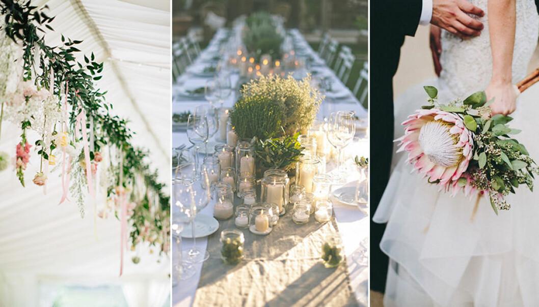 Dekorera med blommor och grönt på bröllopet i sommar