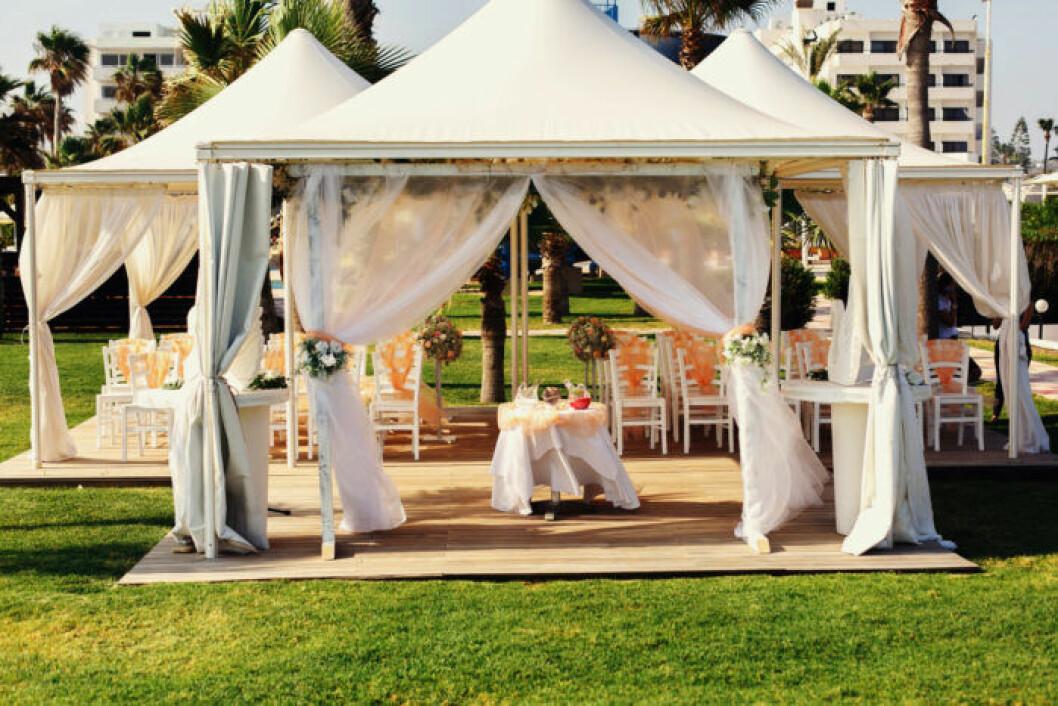 Bröllopstält att ha utanför lokal