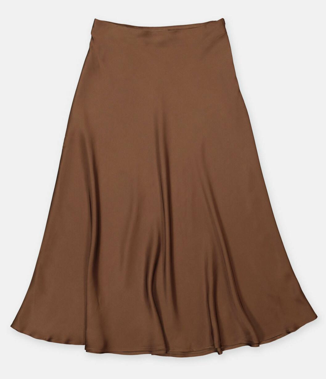 Chokladbrun kjol i vadlång modell från Wera