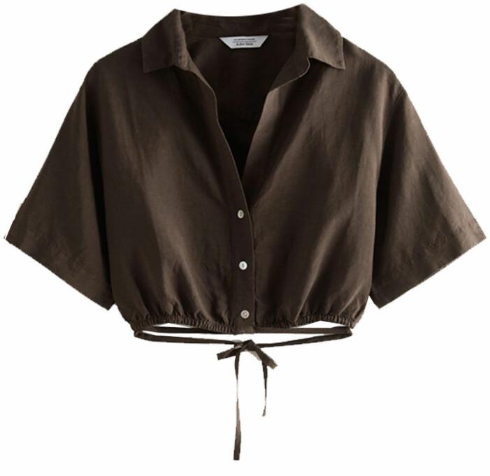 brun croppad skjorta med band