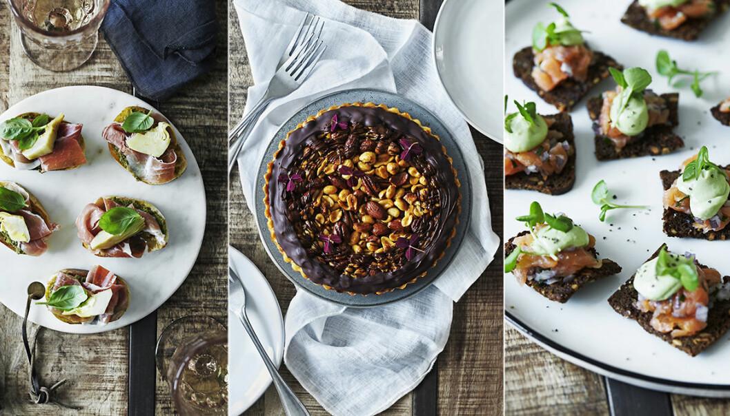 Bruschetta med parma, chokladkaka med nötter och snittar med rökt lax