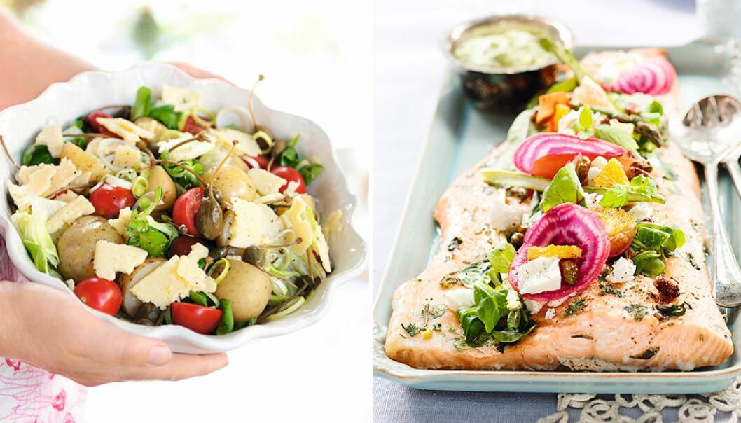 Potatissallad och lax är enkelt att förbereda.