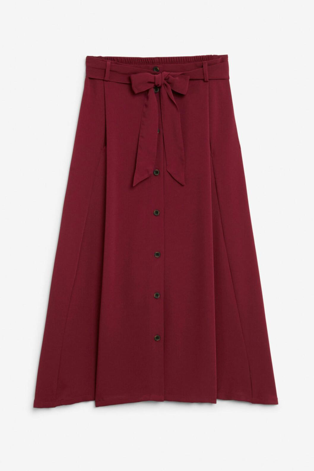 Medellång kjol i Burgundy