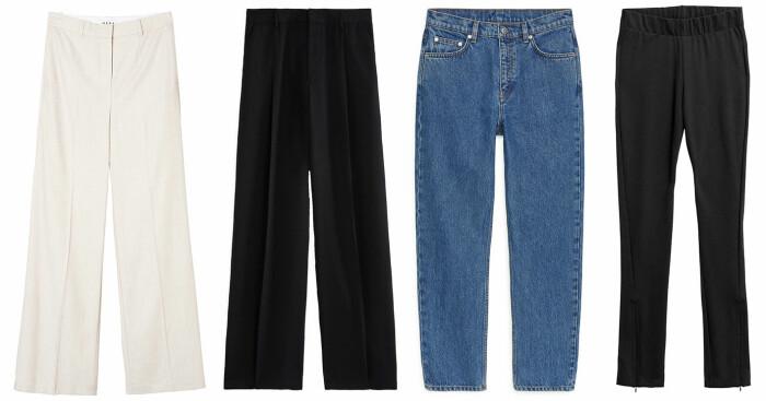 plock med byxor. Vita byxor från Wera, svarta kostymbyxor från Filippa K, blå jeans från Arket och leggings med slits från house of dagmar.
