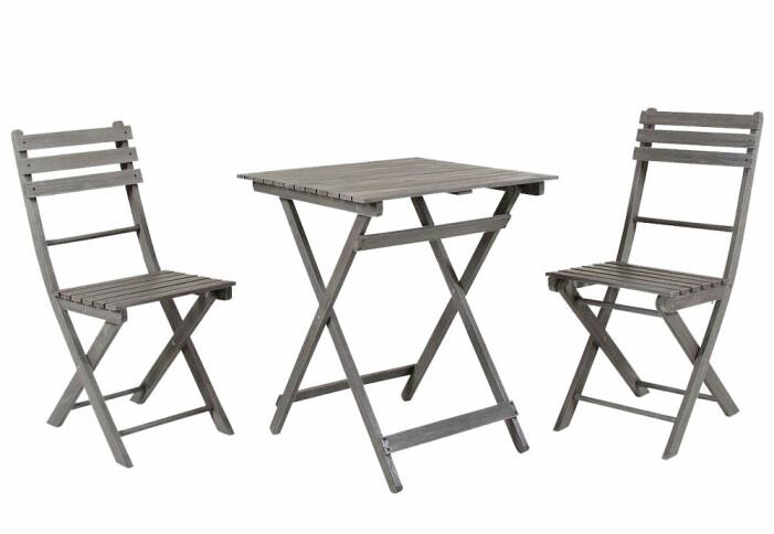 cafeset med stol och bord i trä för balkong