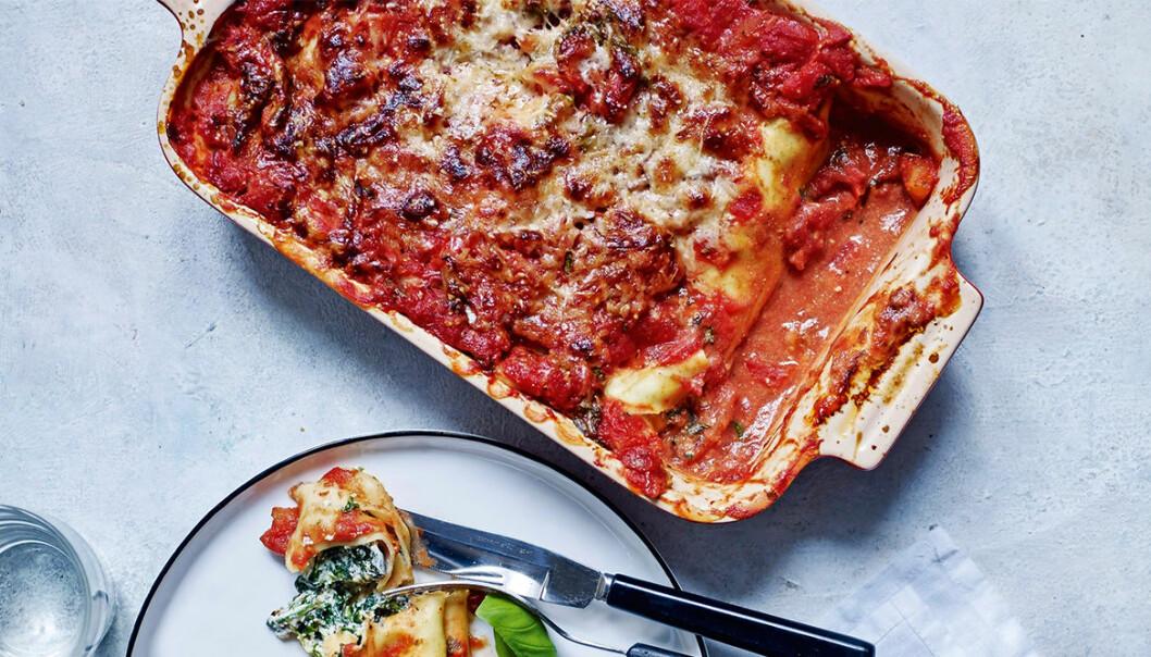 Recept på cannelloni med spenat, parmesan och ricotta