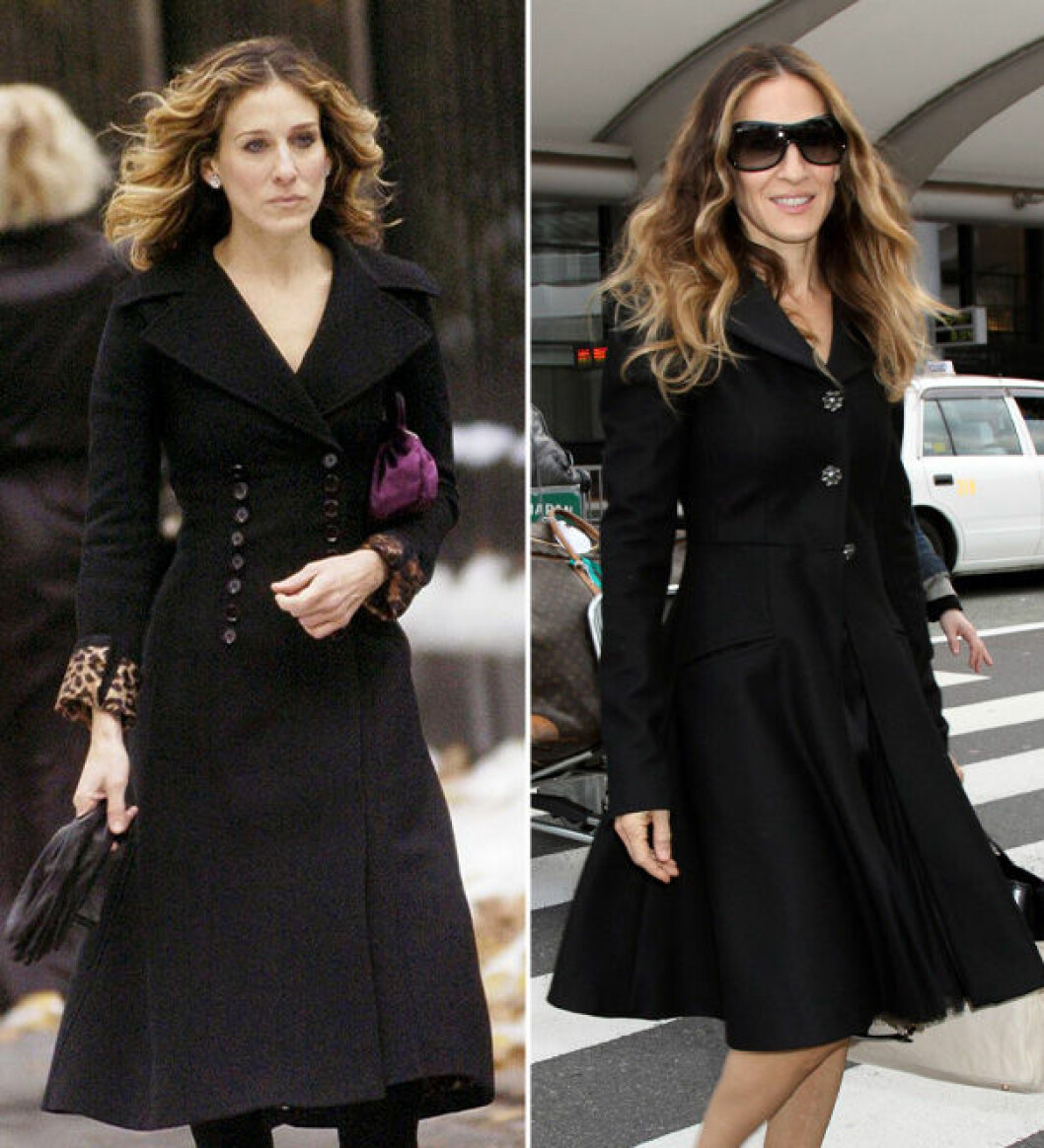 Carrie Bradshaw och Sarah Jessica Parker i svart kappa