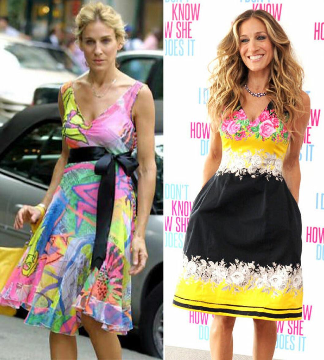 Carrie Bradshaw och Sarah Jessica Parker i multifärgad klänning