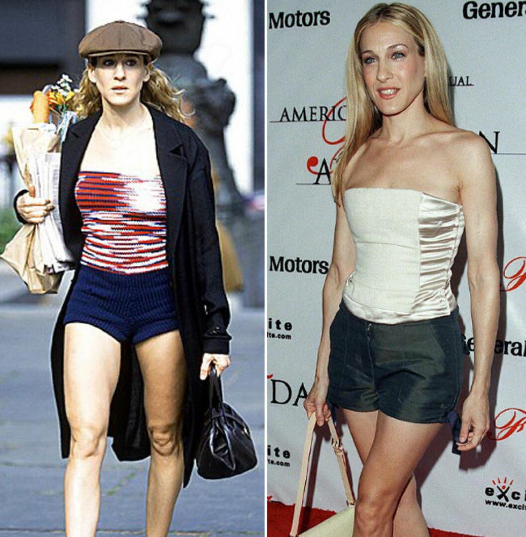 Carrie Bradshaw och Sarah Jessica Parker i shorts och tubtopp