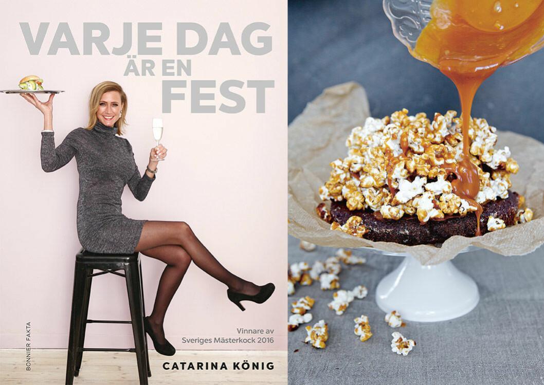 """Chokladtryffeltårta med salta kolapopcorn från Catarina Königs kokbok """"Varje dag är en fest""""."""