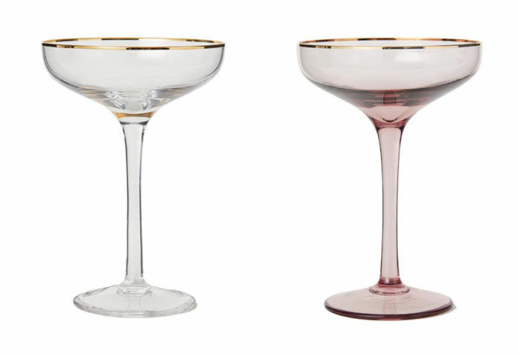 champagneglas med guldkant från H&M Home