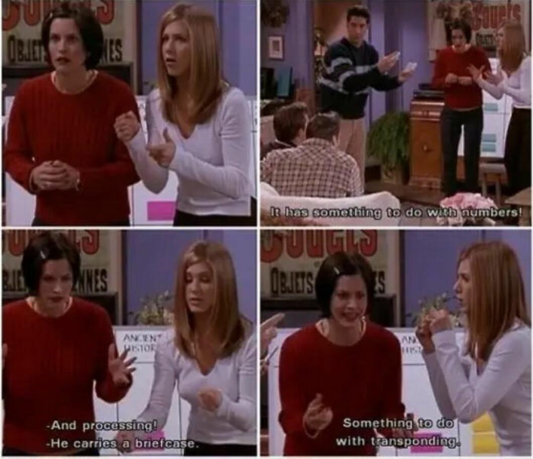 Monica och rachel gissar Chandlers jobb
