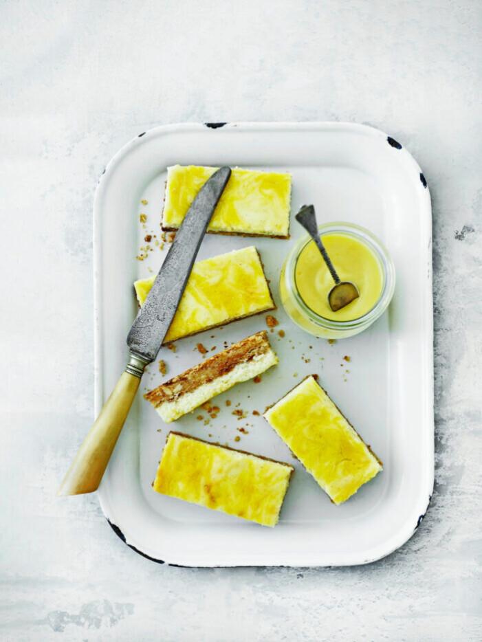 Recept på cheesecakesnittar med lemon curd