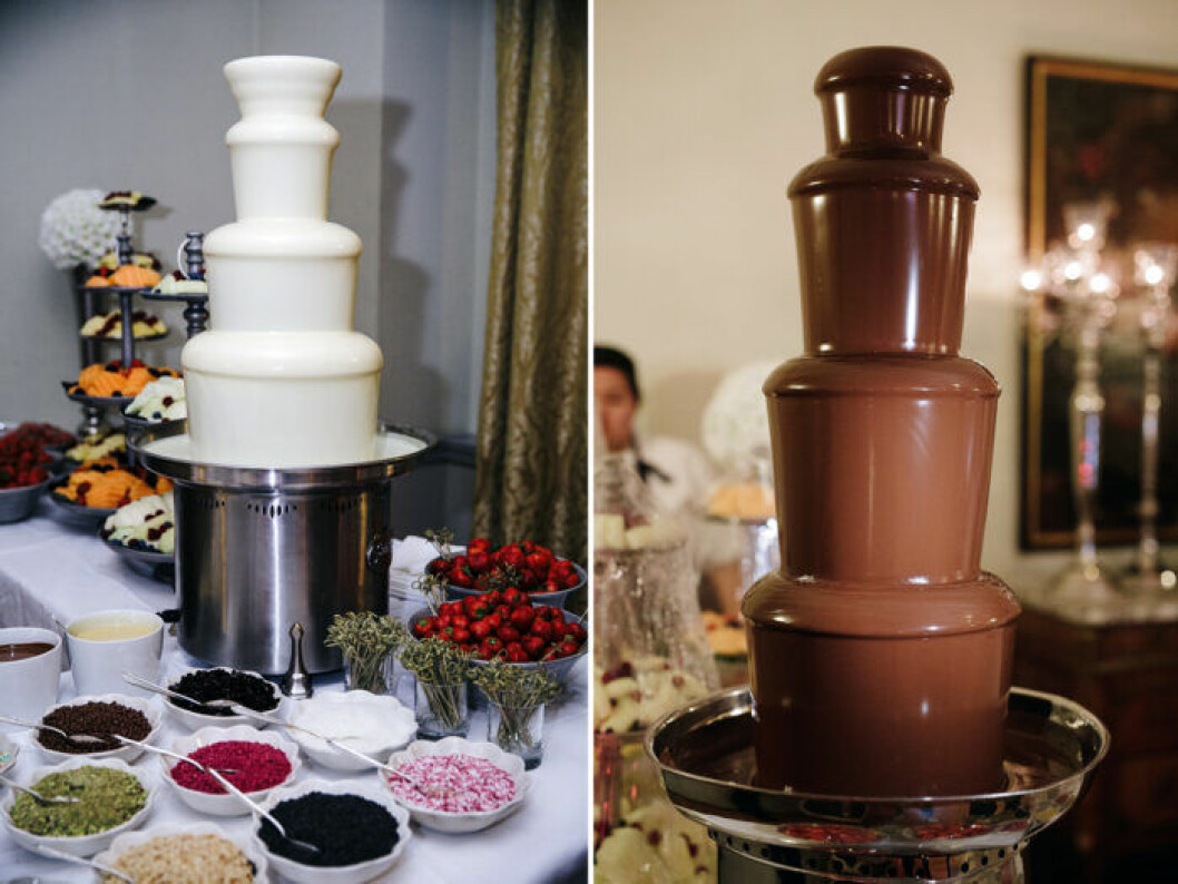 Chokladfontäner, strössel, frukter och bär.