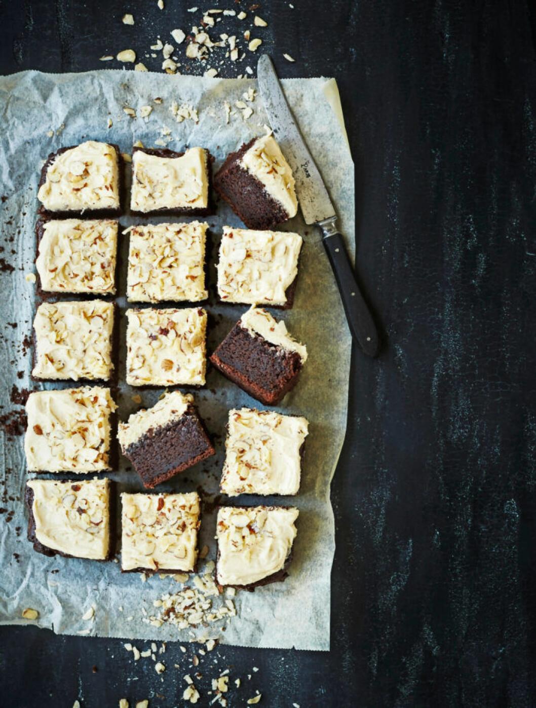 Recept på chokladkaka med kaffesmör
